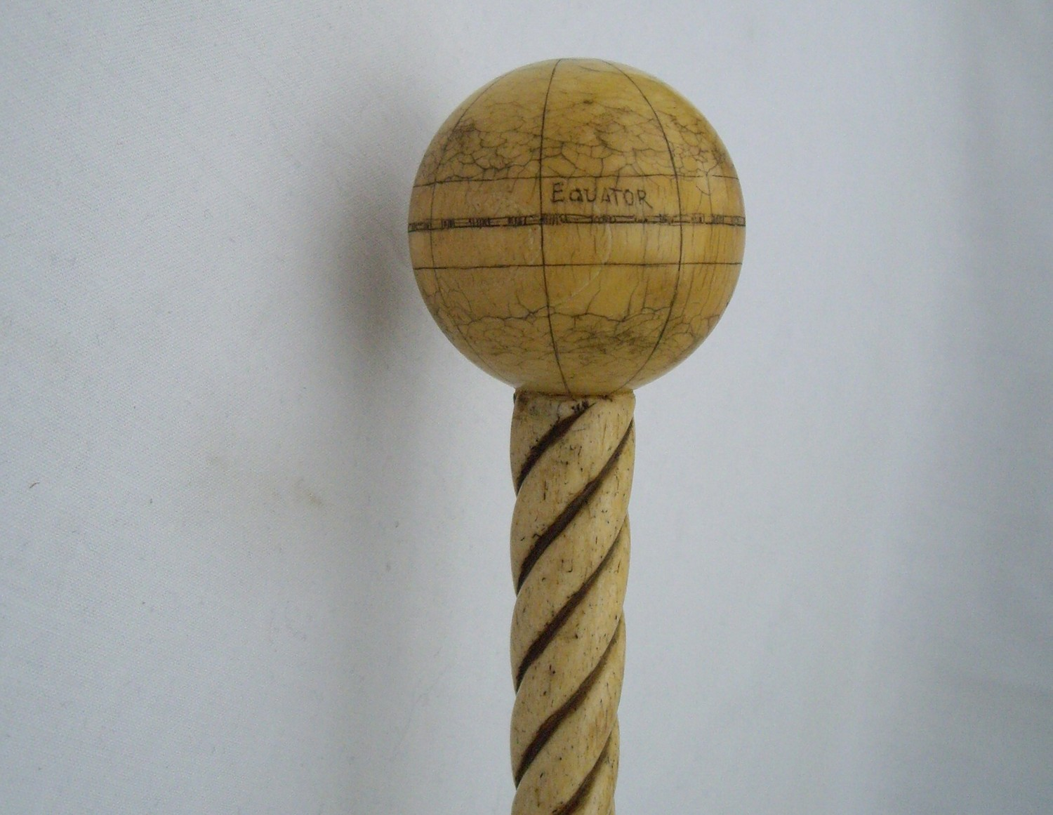 Mid 19th Century Scrimshaw Walking Stick From Whale Bone